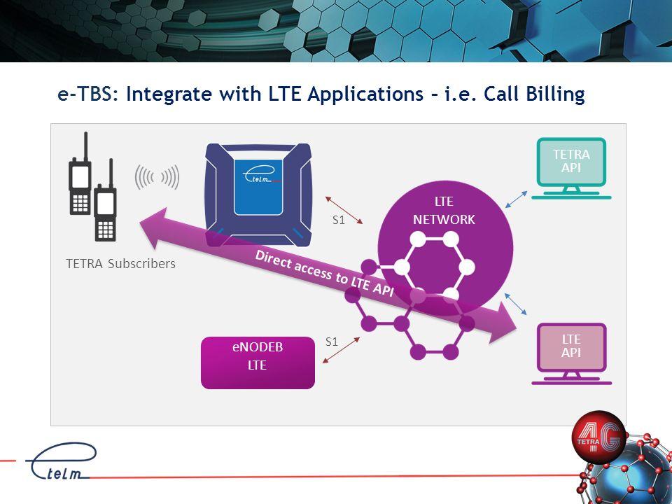 e-TBS: Integrate with LTE Applications – i.e. Call Billing LTE NETWORK S1 TETRA Subscribers S1 Direct access to LTE API eNODEB LTE TETRA API LTE API