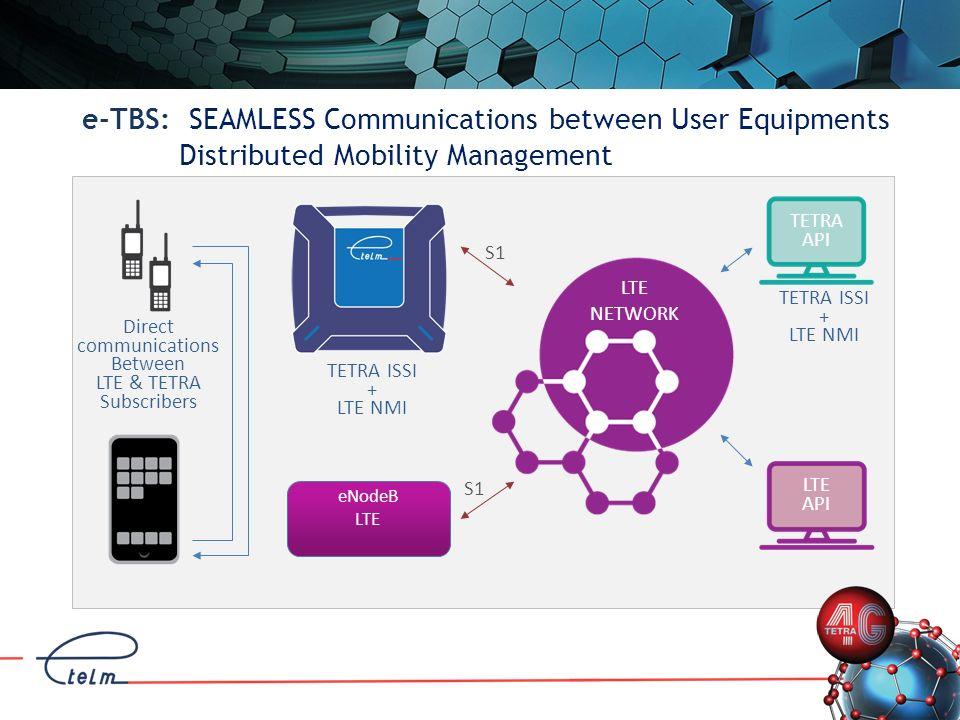 LTE NMS e-TBS: Single Site: eTBS + eNodeB LTE NETWORK S1 TETRA NMS eNodeB LTE eNodeB LTE S1 X2