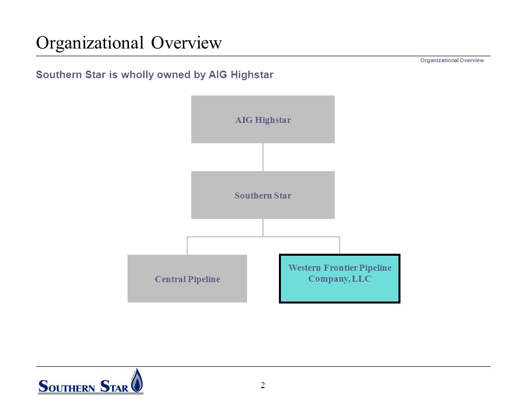 Organizational Overview AIG Highstar Southern Star Central Pipeline Southern Star is wholly owned by AIG Highstar Organizational Overview Western Frontier Pipeline Company, LLC 2