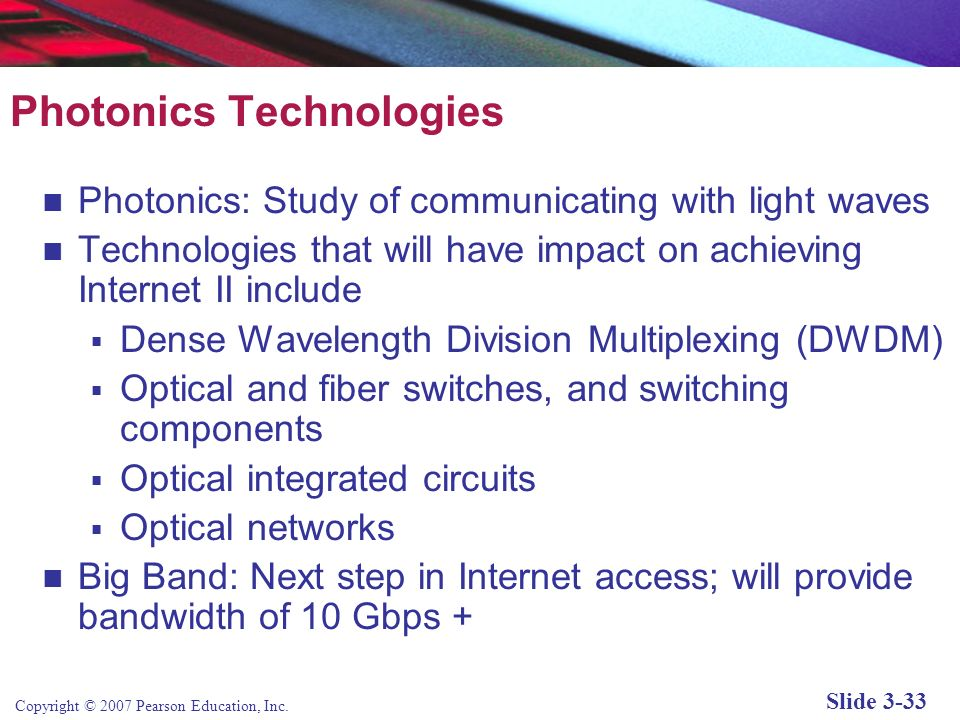 Copyright © 2007 Pearson Education, Inc. Slide 3-32 Fiber Optics and the Bandwidth Explosion in the First Mile Fiber optics concerned with the first m