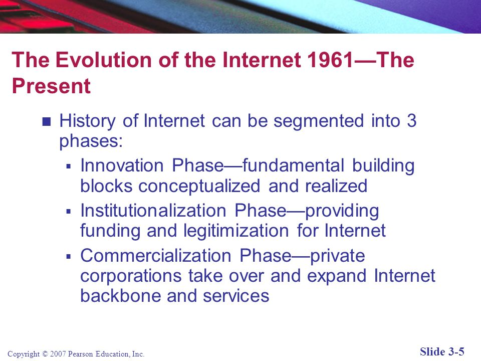 Copyright © 2007 Pearson Education, Inc. Slide 3-4 The Internet: Technology Background Internet: An interconnected network of thousands of networks an