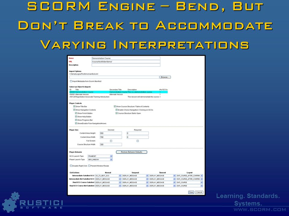 www.scorm.com Learning. Standards. Systems. SCORM Engine – Bend, But Dont Break to Accommodate Varying Interpretations