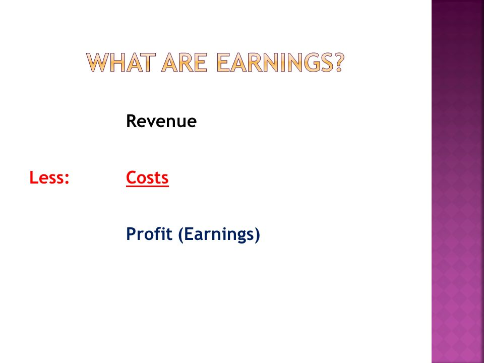 Revenue Less:Costs Profit (Earnings)