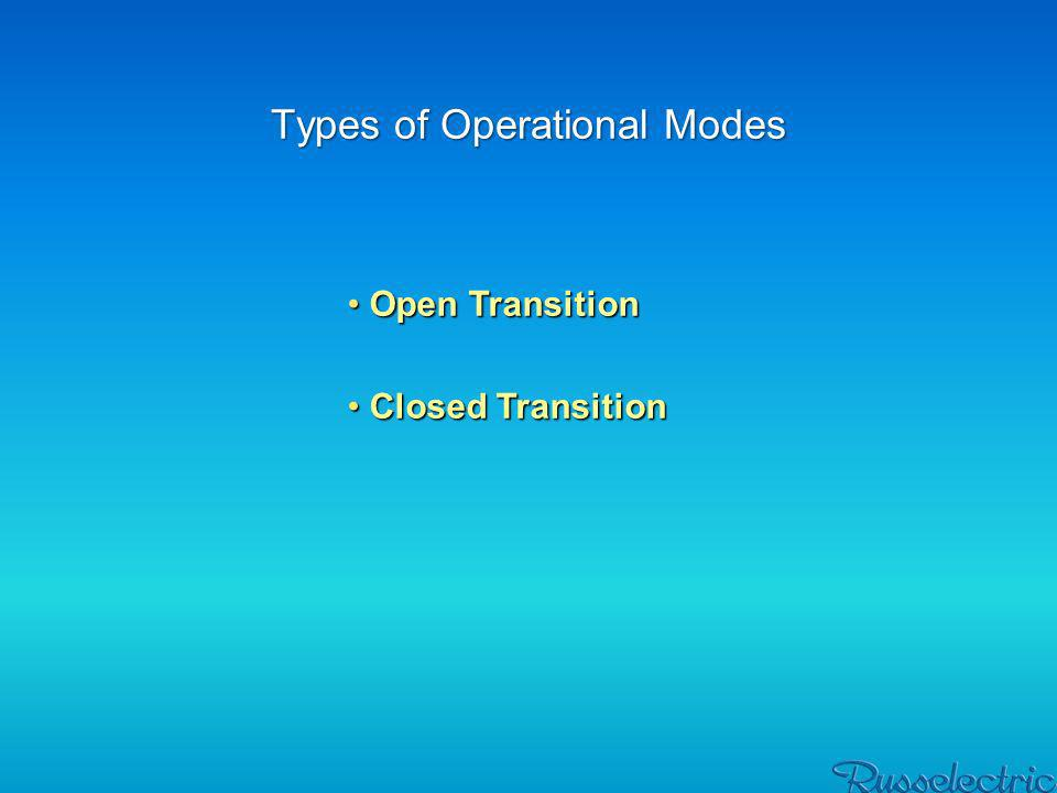 First lets talk about open transition mode An open transition mode of operation is a method of transferring a load between two sources with an interruption of power during An open transition mode of operation is a method of transferring a load between two sources with an interruption of power duringtransfer.