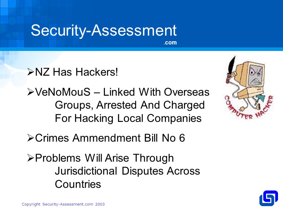 Security-Assessment.com Copyright Security-Assessment.com 2003 NZ Has Hackers.