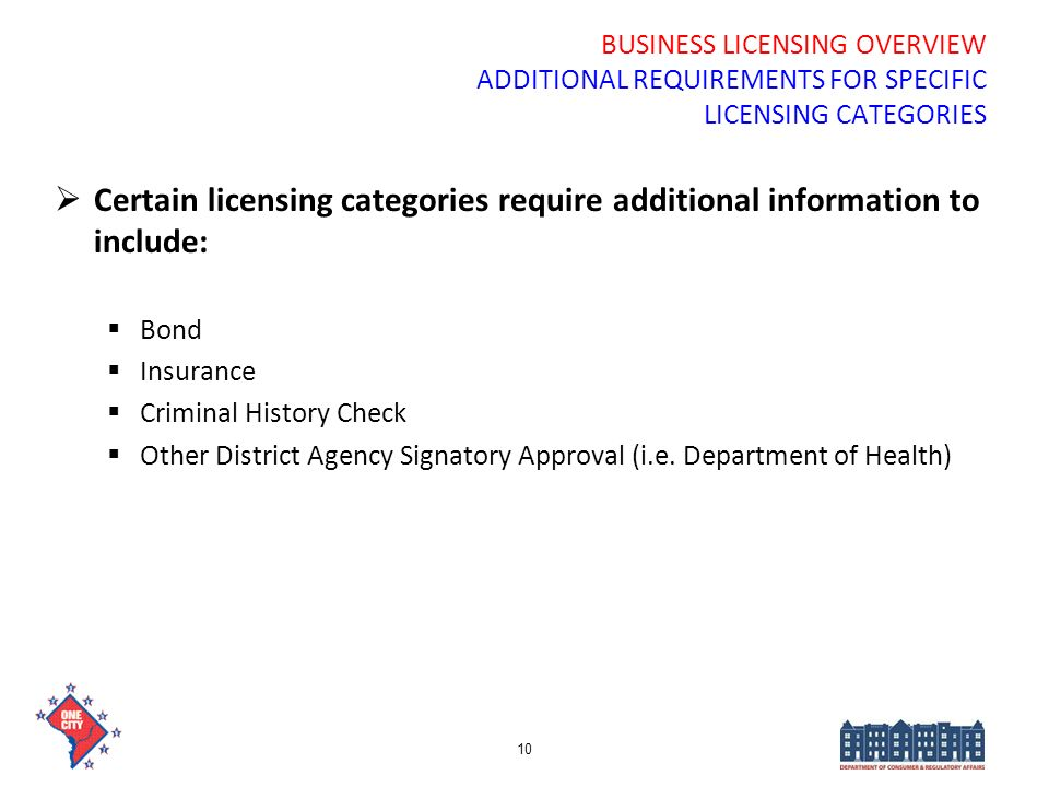 BUSINESS LICENSING OVERVIEW ADDITIONAL REQUIREMENTS FOR SPECIFIC LICENSING CATEGORIES Certain licensing categories require additional information to i