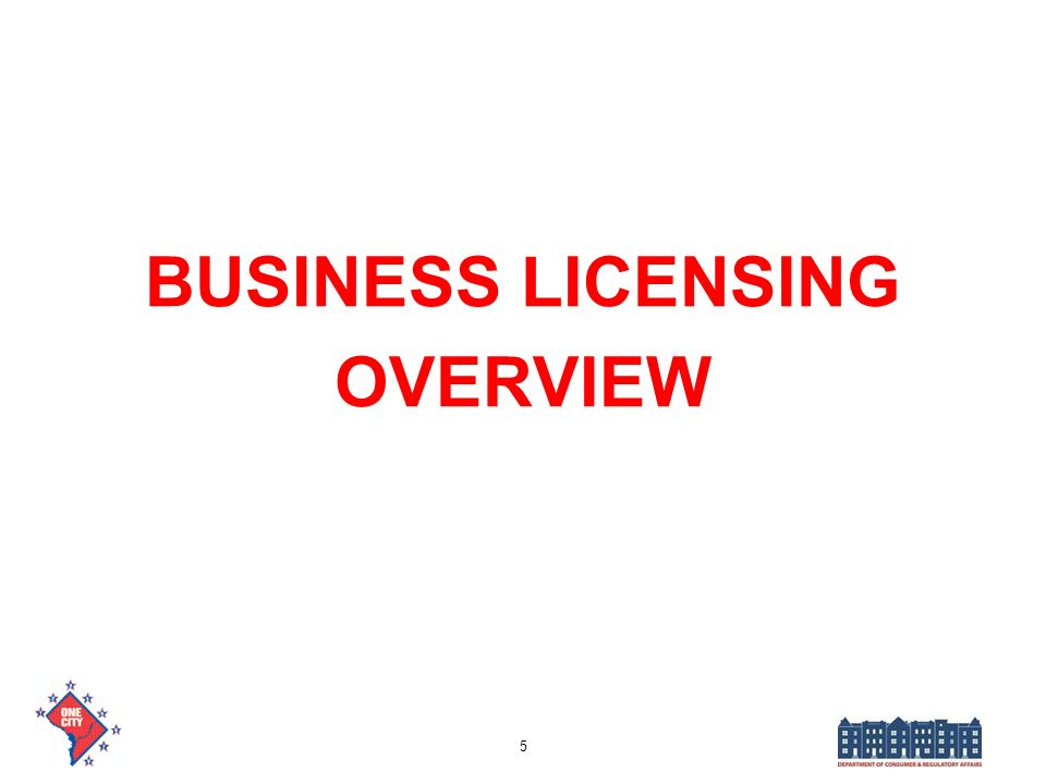 BUSINESS LICENSING OVERVIEW 5