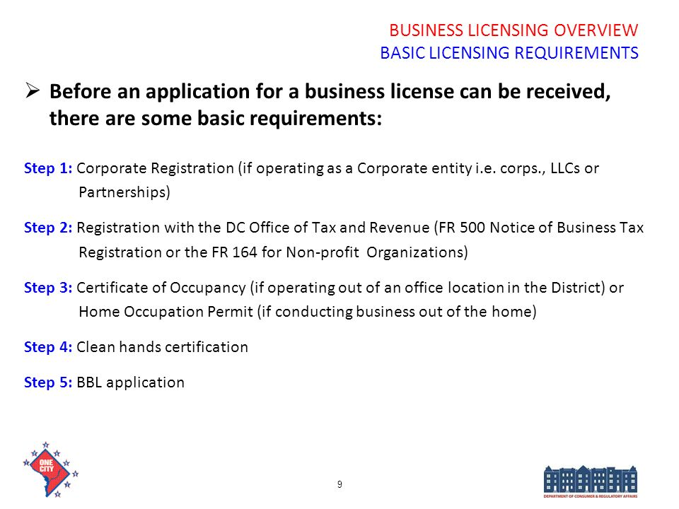 BUSINESS LICENSING OVERVIEW BASIC LICENSING REQUIREMENTS Before an application for a business license can be received, there are some basic requiremen