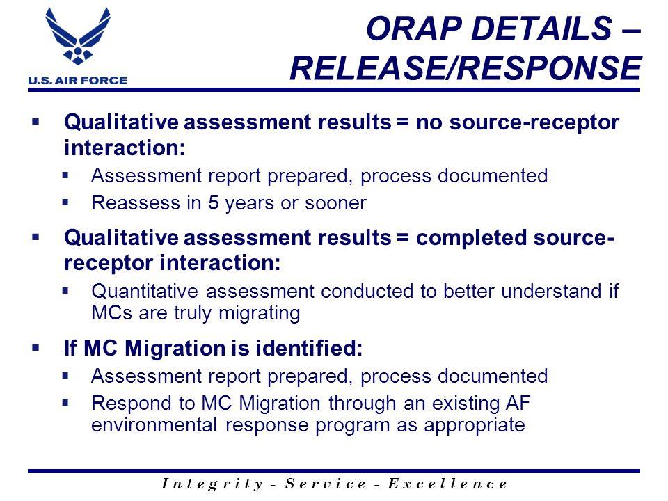 I n t e g r i t y - S e r v i c e - E x c e l l e n c e ORAP DETAILS – RELEASE/RESPONSE Qualitative assessment results = no source-receptor interactio