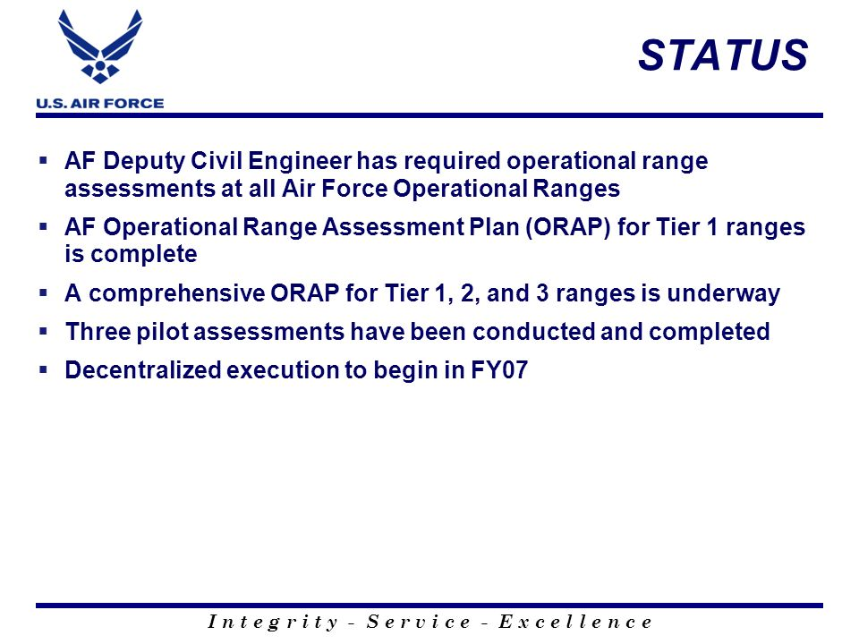 I n t e g r i t y - S e r v i c e - E x c e l l e n c e STATUS AF Deputy Civil Engineer has required operational range assessments at all Air Force Op