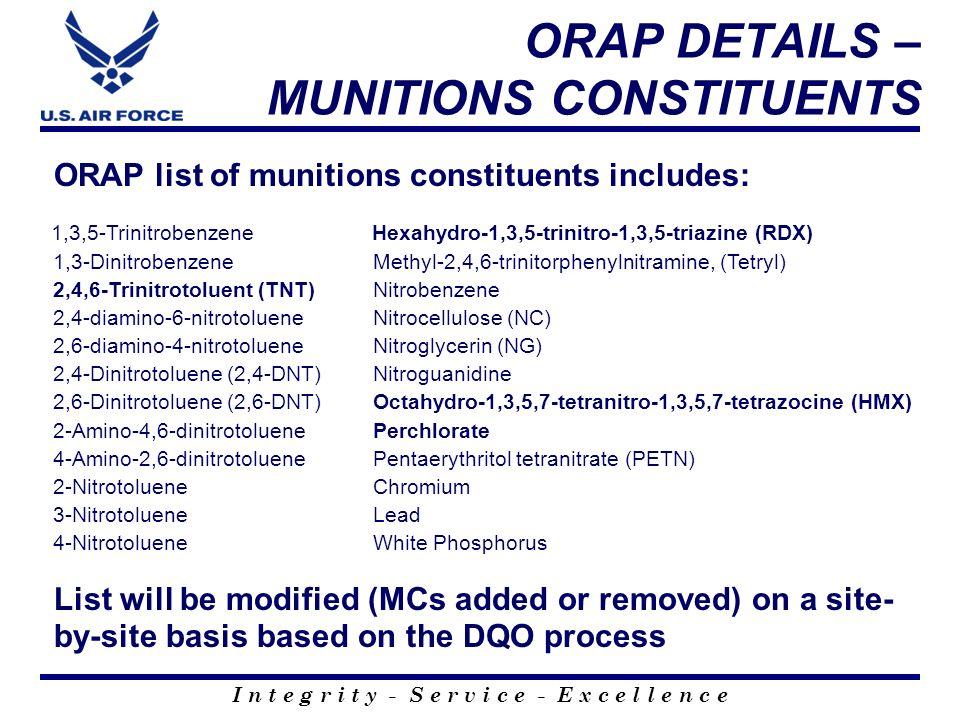 I n t e g r i t y - S e r v i c e - E x c e l l e n c e ORAP DETAILS – MUNITIONS CONSTITUENTS ORAP list of munitions constituents includes: 1,3,5-Trin