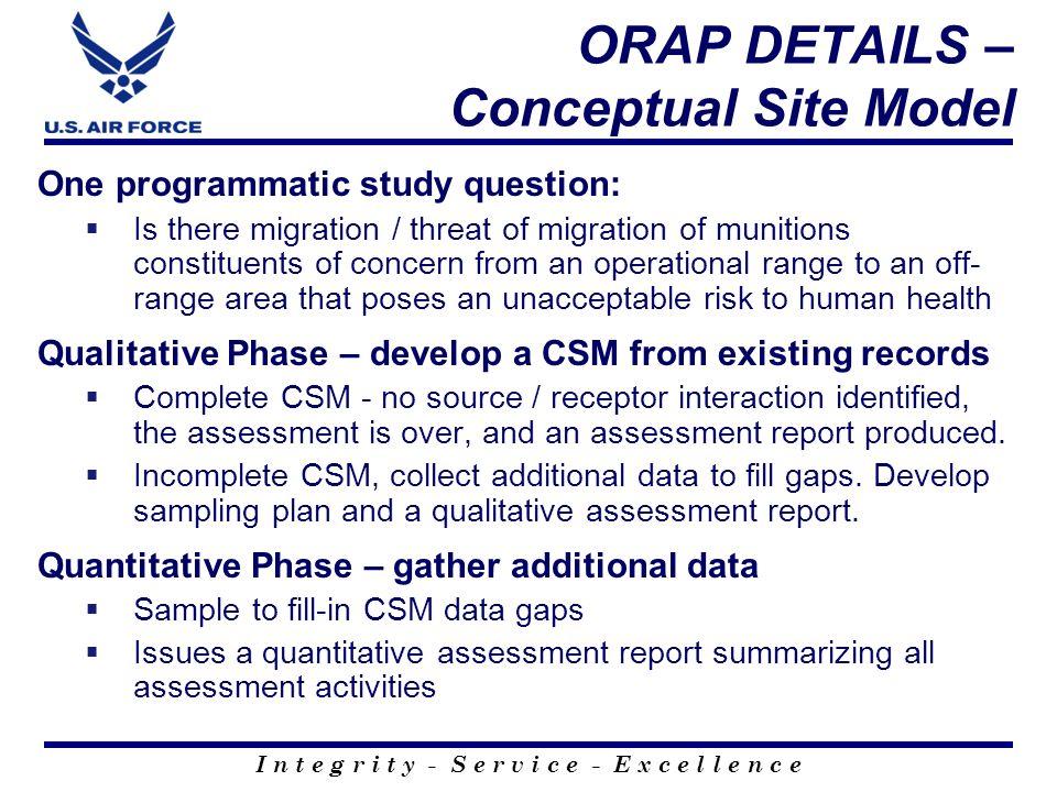 I n t e g r i t y - S e r v i c e - E x c e l l e n c e ORAP DETAILS – QUALITATIVE PHASE Range-wide, Conceptual Site Model, designed to focus qualitative assessment on potential exposure pathways.