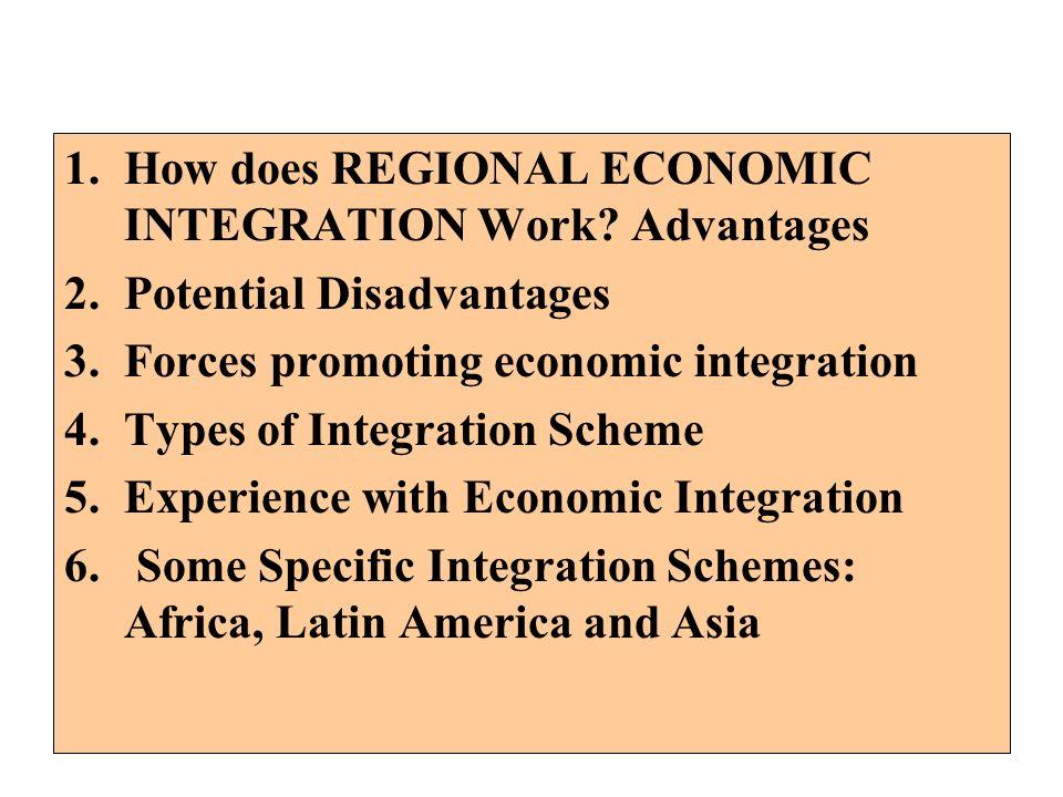 1.How does REGIONAL ECONOMIC INTEGRATION Work? Advantages 2.Potential Disadvantages 3.Forces promoting economic integration 4.Types of Integration Sch