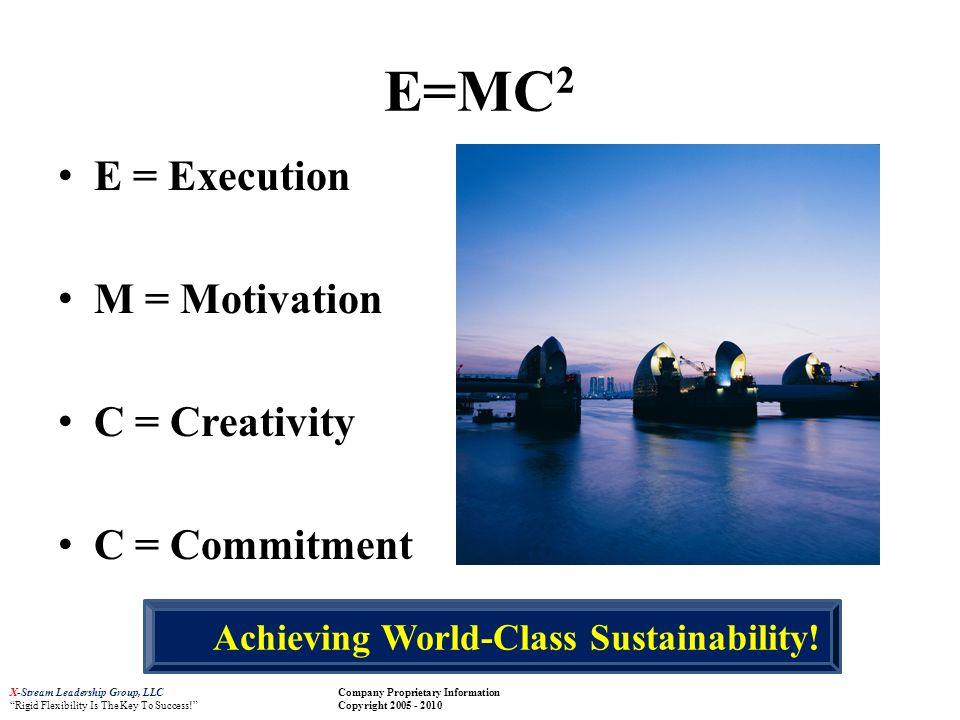 X-Stream Leadership Group, LLC Rigid Flexibility Is The Key To Success! Company Proprietary Information Copyright 2005 - 2010 E=MC 2 E = Execution M =