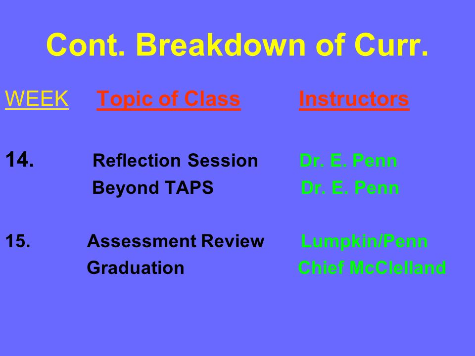 Cont. Breakdown of Curr. WEEK Topic of Class Instructors 14. Reflection Session Dr. E. Penn Beyond TAPS Dr. E. Penn 15. Assessment Review Lumpkin/Penn
