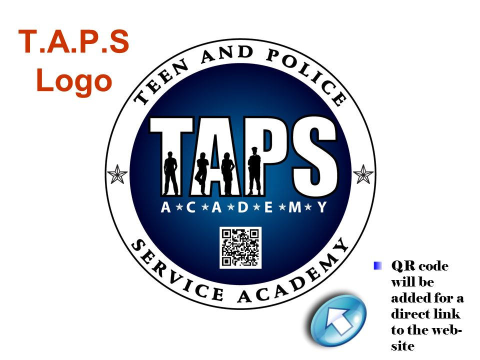 T.A.P.S Logo QR code will be added for a direct link to the web- site