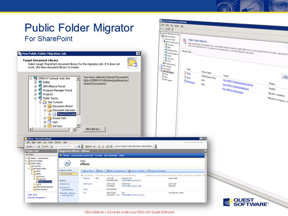 NDA Material – Covered under your NDA with Quest Software Public Folder Migrator For SharePoint