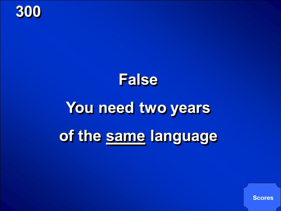 © Mark E. Damon - All Rights Reserved 300 True or False? By taking French 1 and Spanish 1, youll meet the E requirement. True or False? By taking Fren