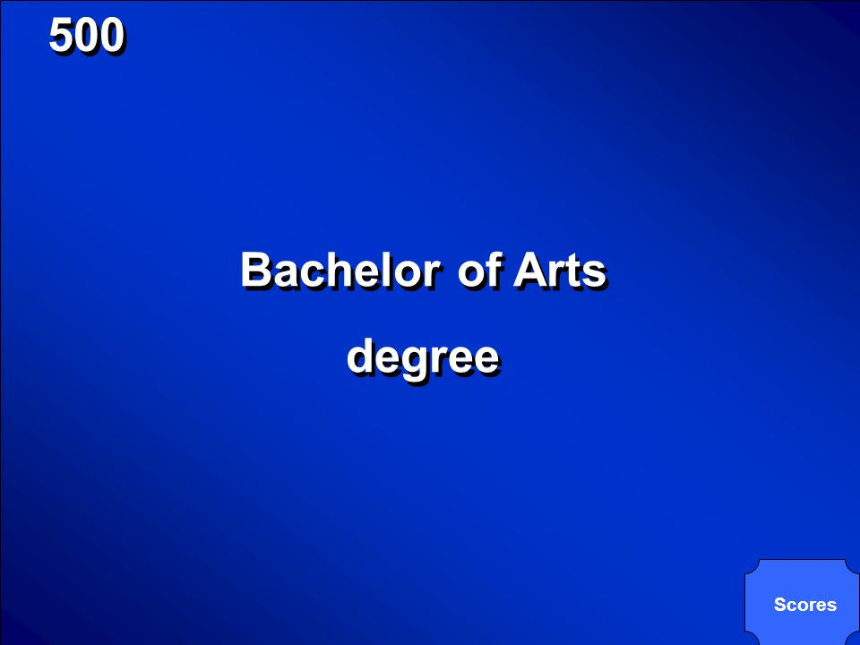 © Mark E. Damon - All Rights Reserved 500 BA is an abbreviation of what type of degree?
