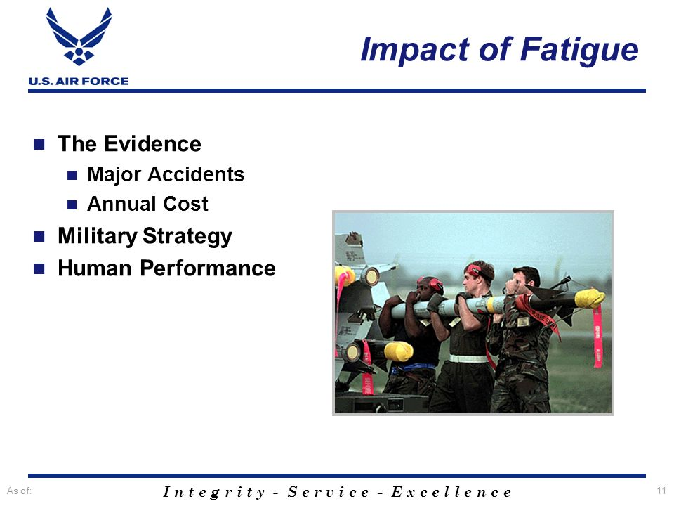 I n t e g r i t y - S e r v i c e - E x c e l l e n c e As of:11 The Evidence Major Accidents Annual Cost Military Strategy Human Performance Impact o