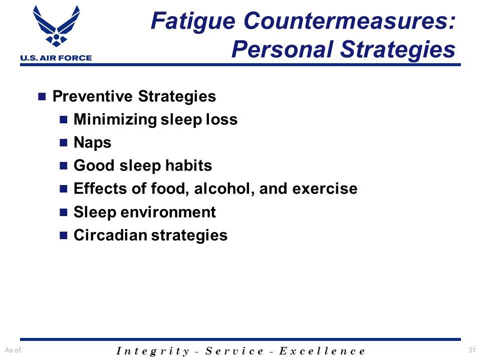 I n t e g r i t y - S e r v i c e - E x c e l l e n c e As of:31 Preventive Strategies Minimizing sleep loss Naps Good sleep habits Effects of food, a