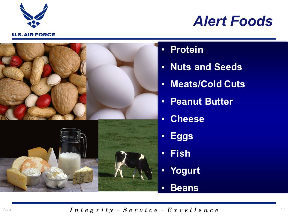 I n t e g r i t y - S e r v i c e - E x c e l l e n c e As of:42 Alert Foods Protein Nuts and Seeds Meats/Cold Cuts Peanut Butter Cheese Eggs Fish Yog