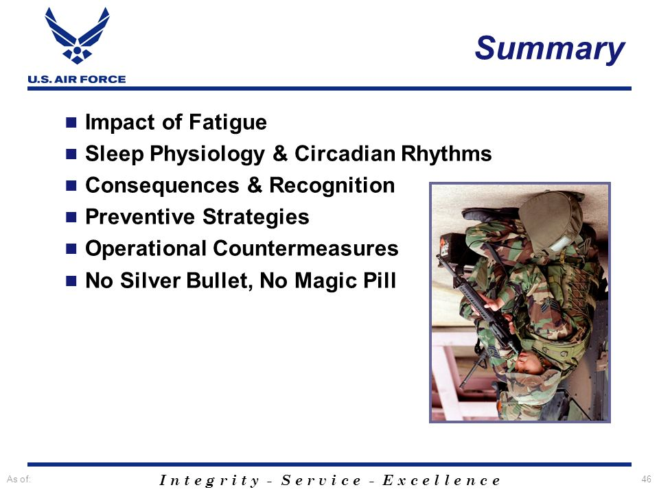 I n t e g r i t y - S e r v i c e - E x c e l l e n c e As of:46 Summary Impact of Fatigue Sleep Physiology & Circadian Rhythms Consequences & Recogni