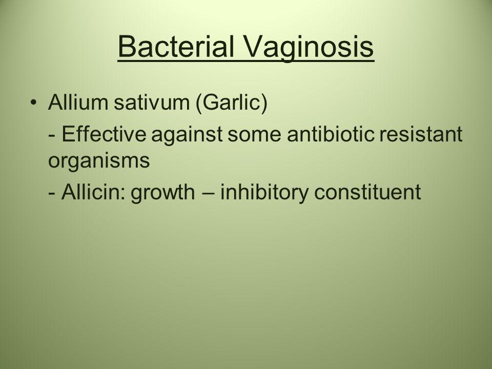 Bacterial Vaginosis Allium sativum (Garlic) - Effective against some antibiotic resistant organisms - Allicin: growth – inhibitory constituent