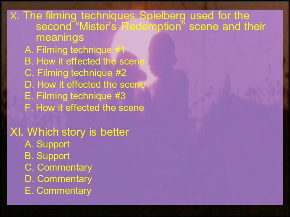 X. The filming techniques Spielberg used for the second Misters Redemption scene and their meanings A. Filming technique #1 B. How it effected the sce