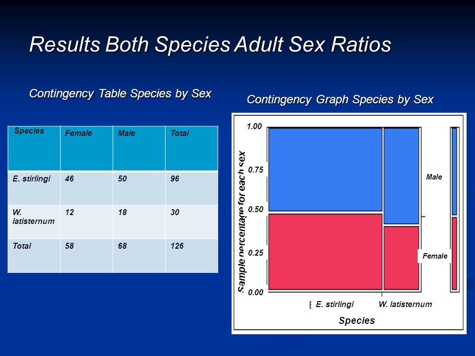 Results Both Species Adult Sex Ratios Contingency Table Species by Sex Species FemaleMaleTotal E. stirlingi465096 W. latisternum 121830 Total5868126 C