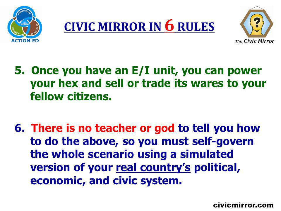 The Civic Mirror civicmirror.com CIVIC MIRROR IN 6 RULES 5. Once you have an E/I unit, you can power your hex and sell or trade its wares to your fell