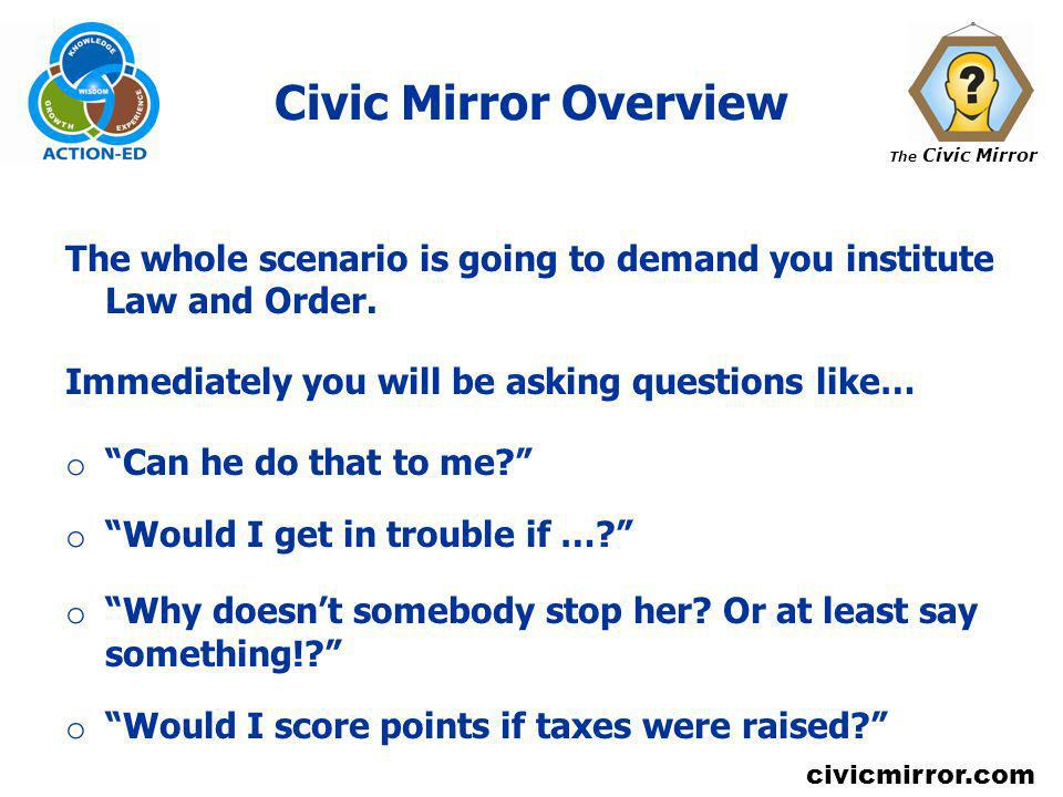 The Civic Mirror civicmirror.com Civic Mirror Overview The whole scenario is going to demand you institute Law and Order. Immediately you will be aski