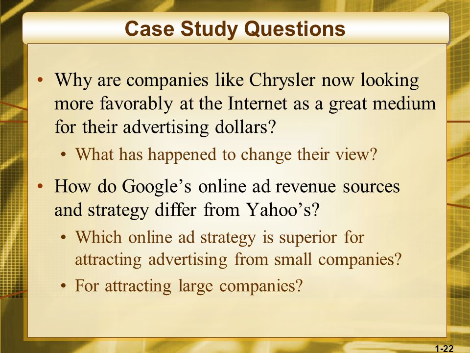 1-22 Case Study Questions Why are companies like Chrysler now looking more favorably at the Internet as a great medium for their advertising dollars?