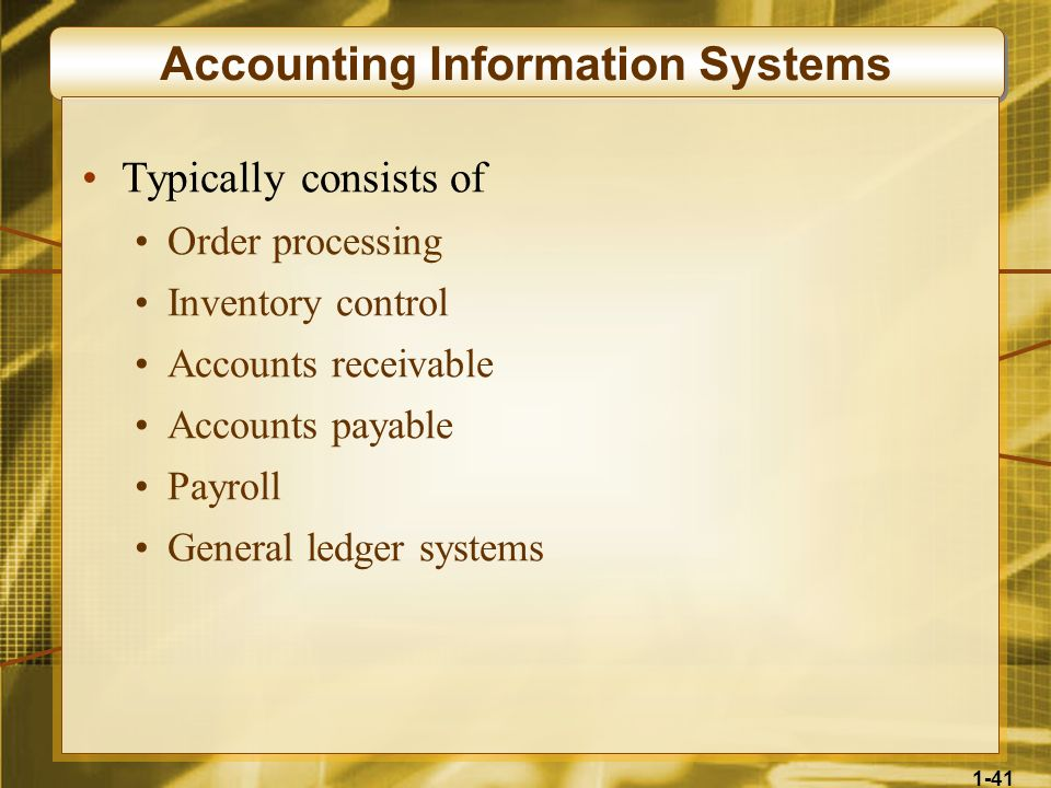 1-41 Accounting Information Systems Typically consists of Order processing Inventory control Accounts receivable Accounts payable Payroll General ledg