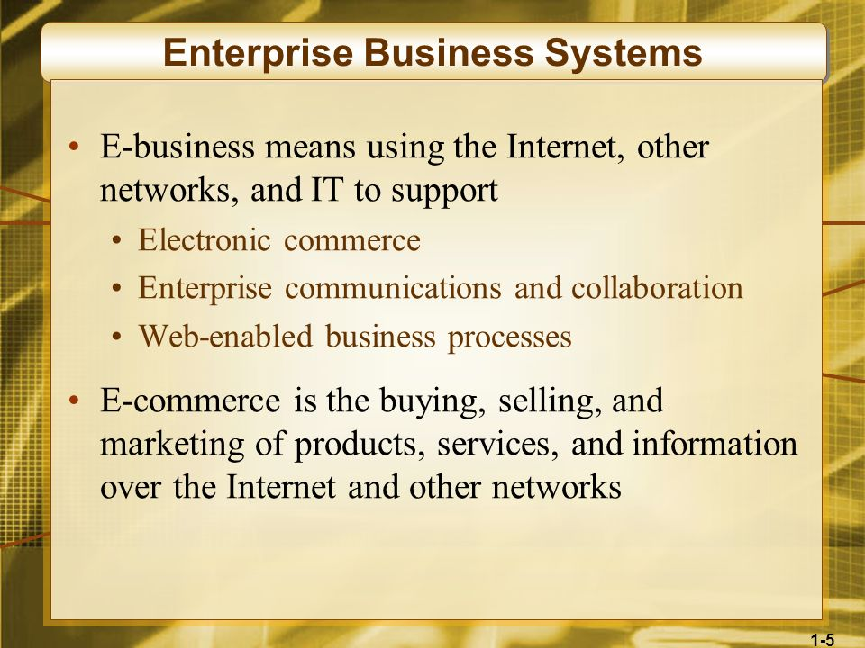 1-5 Enterprise Business Systems E-business means using the Internet, other networks, and IT to support Electronic commerce Enterprise communications a