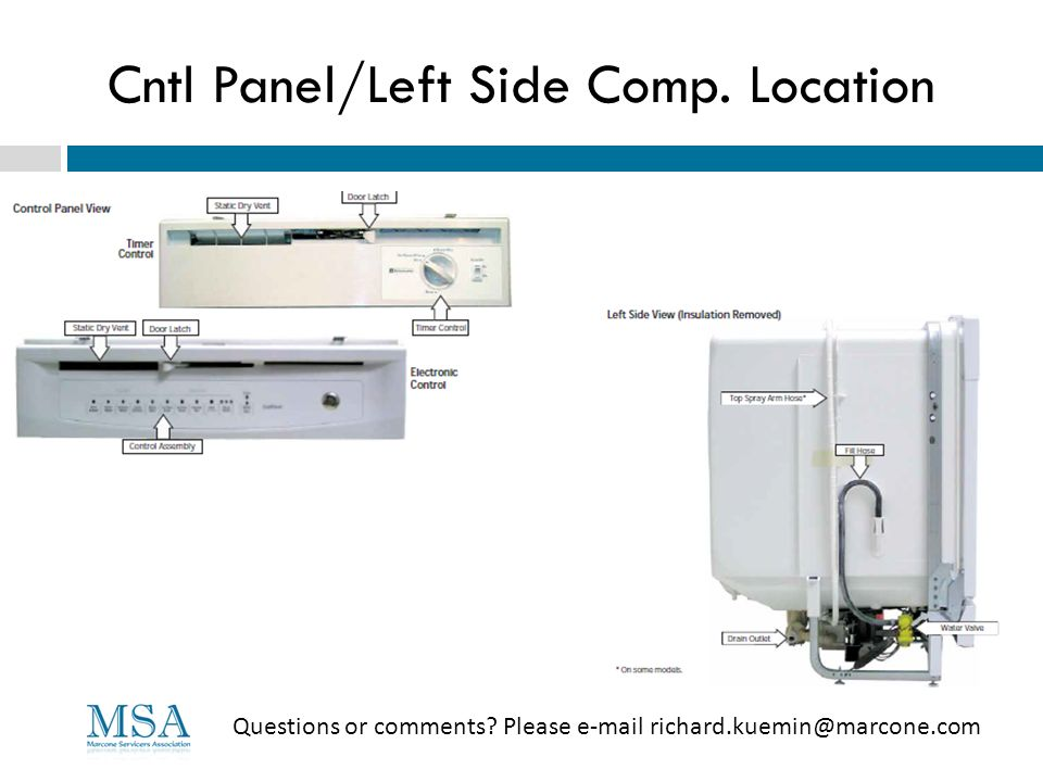 Cntl Panel/Left Side Comp. Location Questions or comments? Please e-mail richard.kuemin@marcone.com