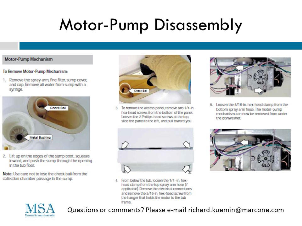Motor-Pump Disassembly Questions or comments? Please e-mail richard.kuemin@marcone.com