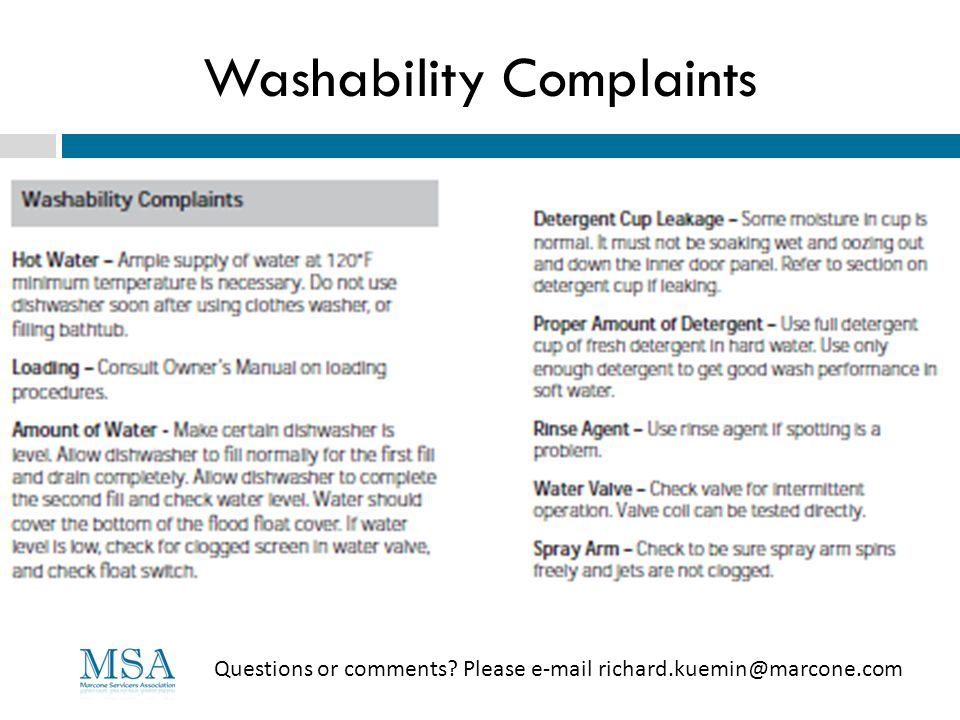 Washability Complaints Questions or comments? Please e-mail richard.kuemin@marcone.com