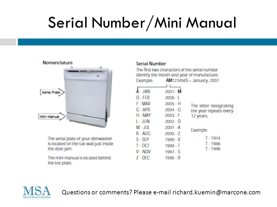 Serial Number/Mini Manual Questions or comments? Please e-mail richard.kuemin@marcone.com