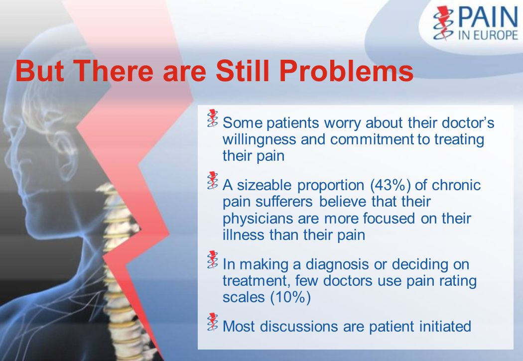 But There are Still Problems Some patients worry about their doctors willingness and commitment to treating their pain A sizeable proportion (43%) of