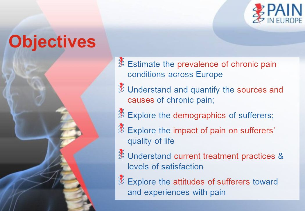 Objectives Estimate the prevalence of chronic pain conditions across Europe Understand and quantify the sources and causes of chronic pain; Explore th
