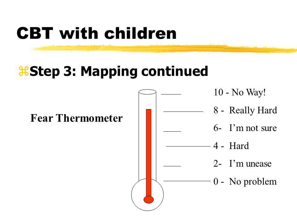 CBT with children zStep 3: Mapping continued 10 - No Way! 8 - Really Hard 6- Im not sure 4 - Hard 2- Im unease 0 - No problem Fear Thermometer