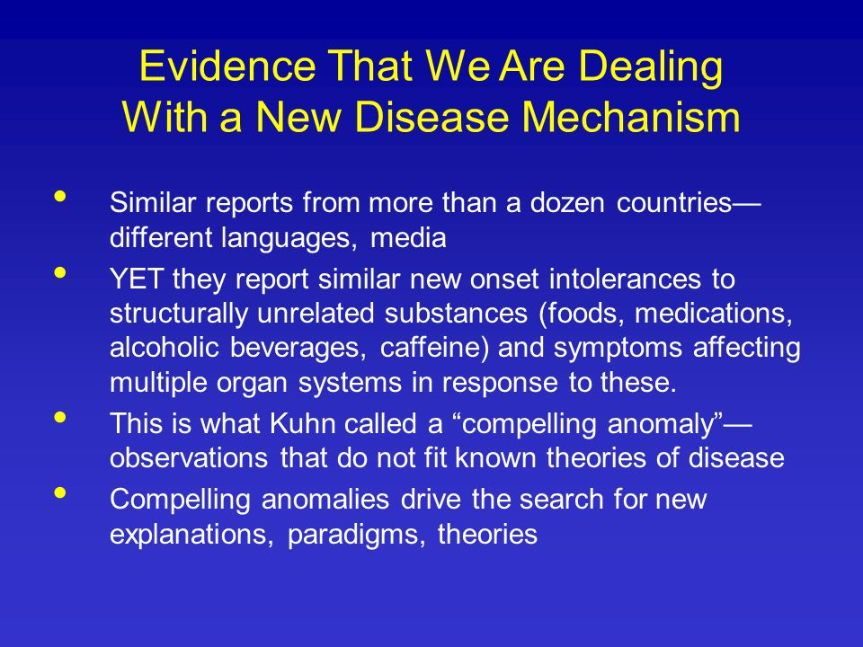 Evidence That We Are Dealing With a New Disease Mechanism Similar reports from more than a dozen countries different languages, media YET they report