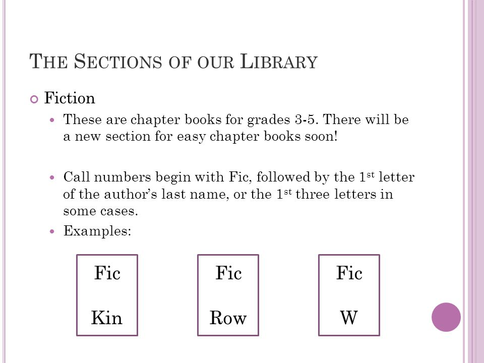 T HE S ECTIONS OF OUR L IBRARY Fiction These are chapter books for grades 3-5. There will be a new section for easy chapter books soon! Call numbers b