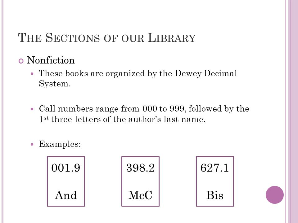 T HE S ECTIONS OF OUR L IBRARY Nonfiction These books are organized by the Dewey Decimal System.