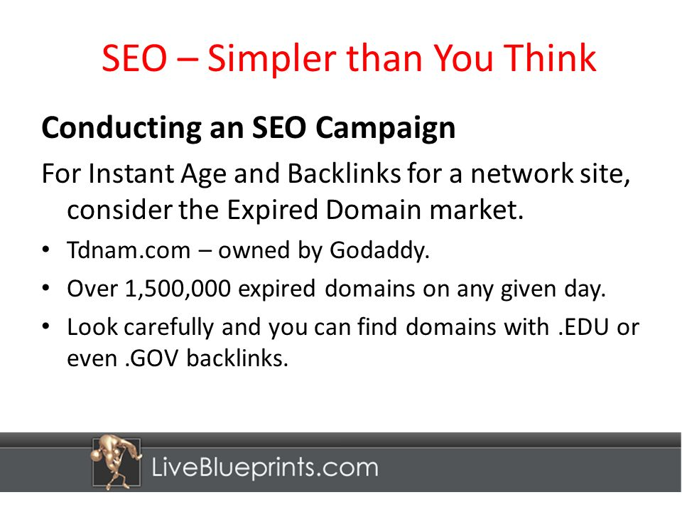 SEO – Simpler than You Think Conducting an SEO Campaign For Instant Age and Backlinks for a network site, consider the Expired Domain market.