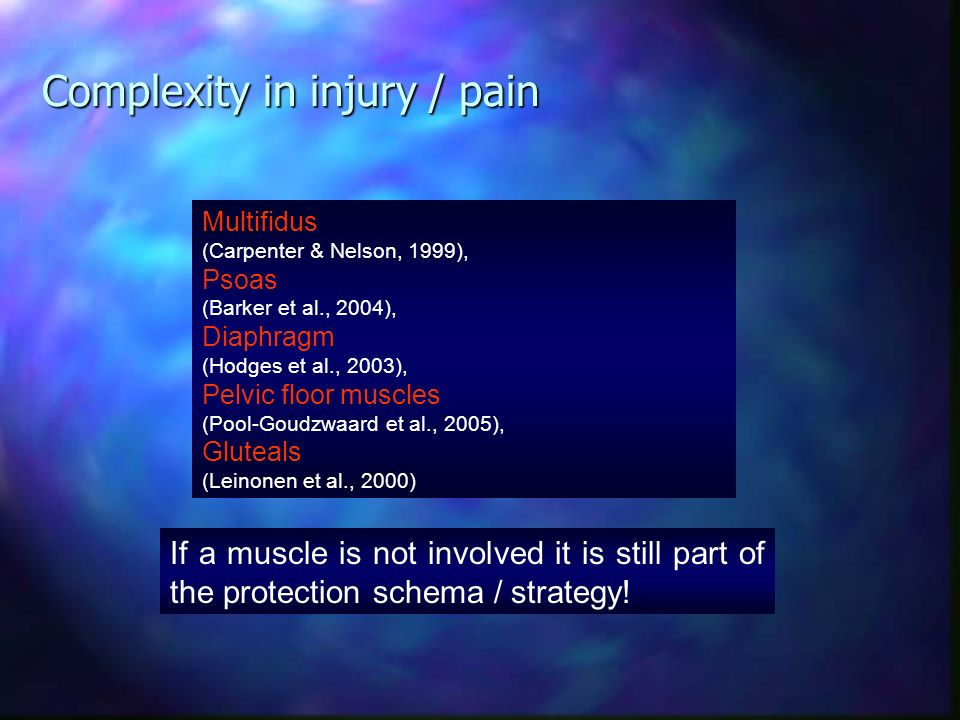 Muscle wasting / weakness Tissue damage Preventing movement in this direction Muscle hyperexcitability and / or hypertonicity But also movement is aff