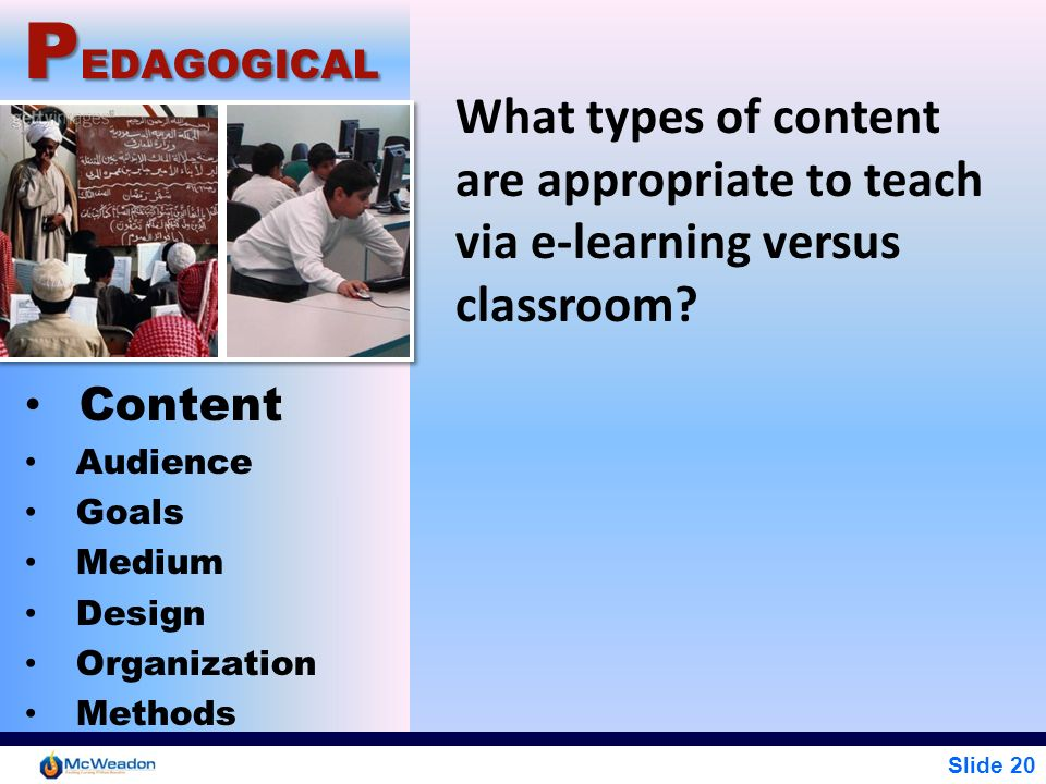 Slide 20 P EDAGOGICAL Content Audience Goals Medium Design Organization Methods What types of content are appropriate to teach via e-learning versus c
