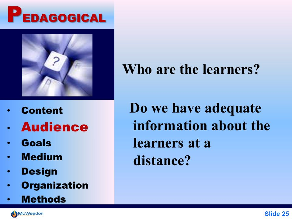 Slide 25 P EDAGOGICAL Content Audience Goals Medium Design Organization Methods Who are the learners? Do we have adequate information about the learne