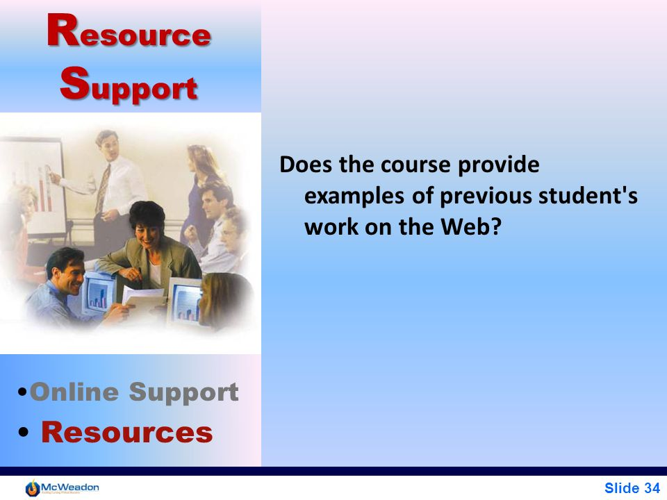 Slide 34 R esource S upport Online Support Resources Does the course provide examples of previous student's work on the Web?